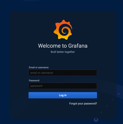 Grafana login screen