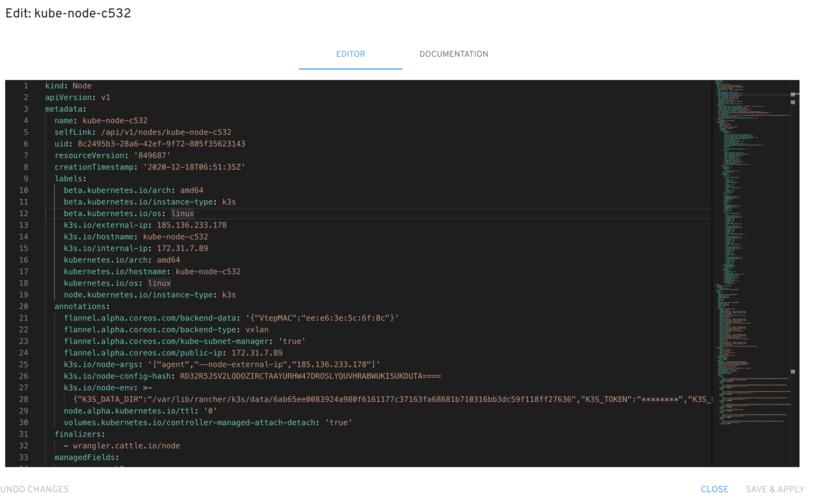 Editing a node