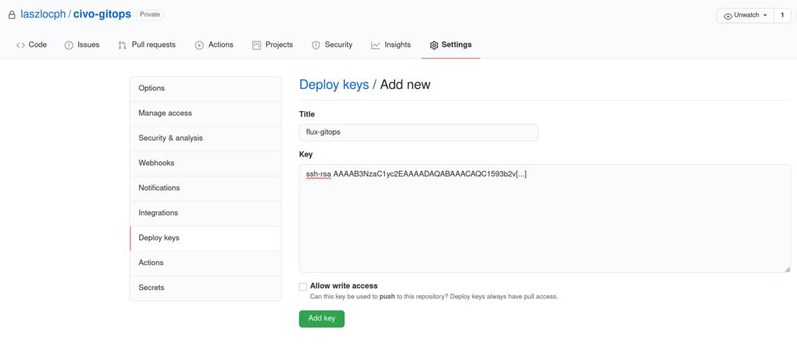 Creating a deploy key