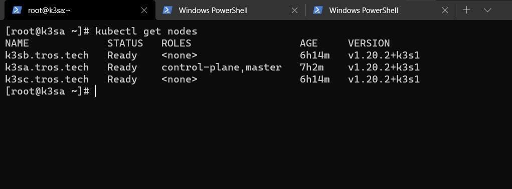 kubectl get nodes output