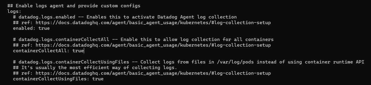datadog-values edit to enable log collection