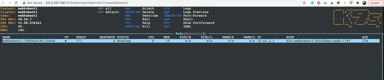 K9s running on webkubectl