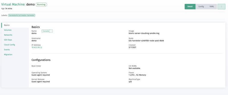 VM Details screen on Harvester