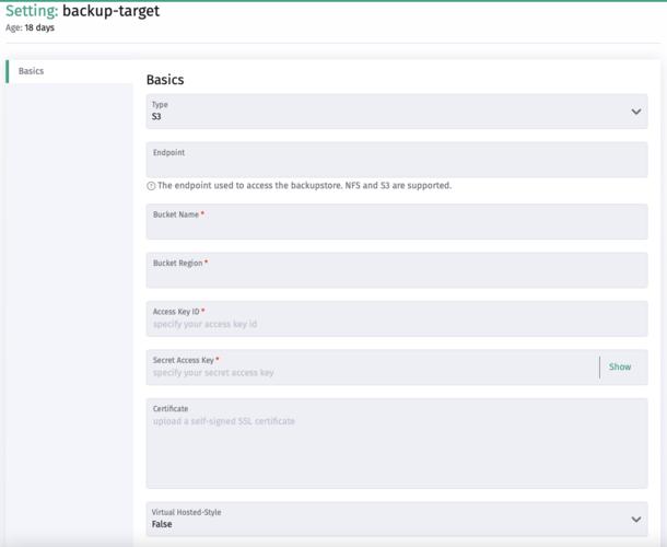 Backup target settings in Harvester