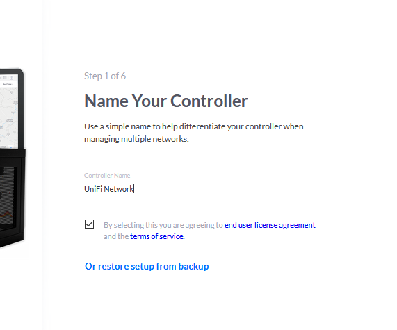 UniFi Controller Setup Interface
