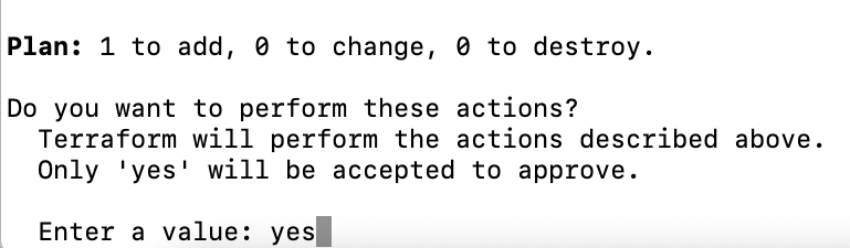 Terraform Apply command requesting confirmation to complete the execution