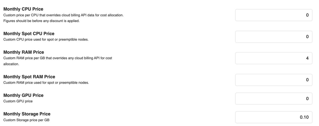 Adding custom values to Kubecost's custom pricing panel