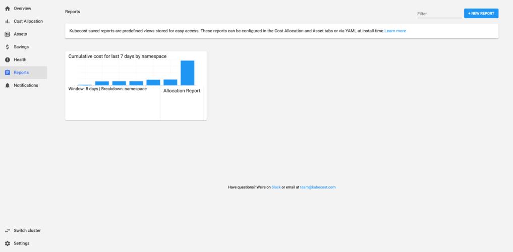 Kubecost report creation screen