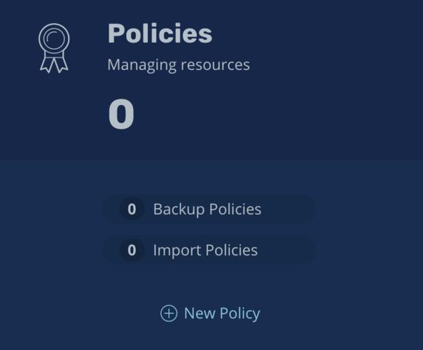 K10 policies screen, showing 0 configured