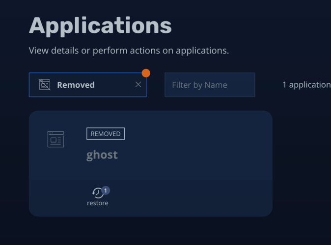 Filtering K10 application list to show removed applications including our demo app