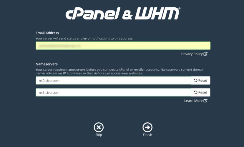 cPanel nameserver setup