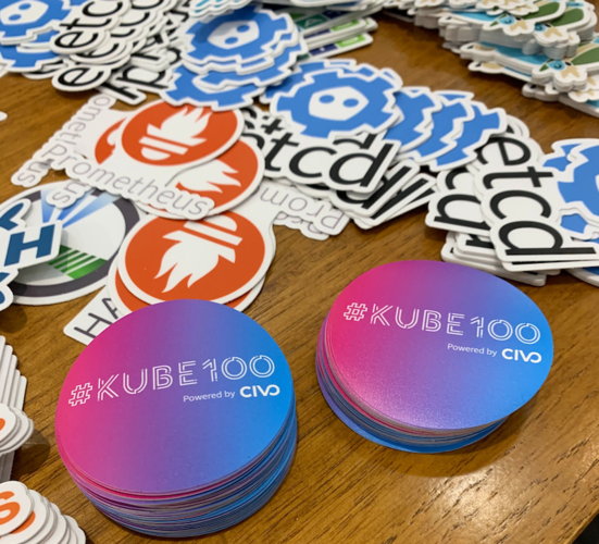 Kube100 Stickers at KubeCon