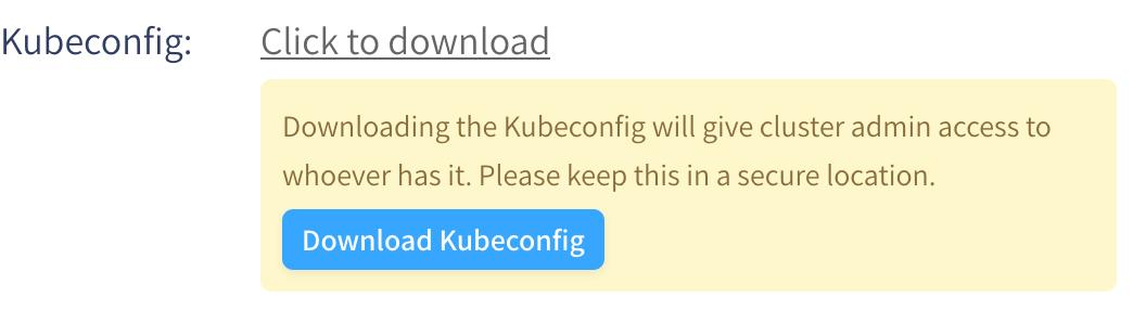 Kubeconfig download