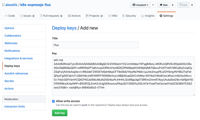 Adding a deploy key to the repo