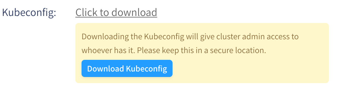 Download Kubeconfig